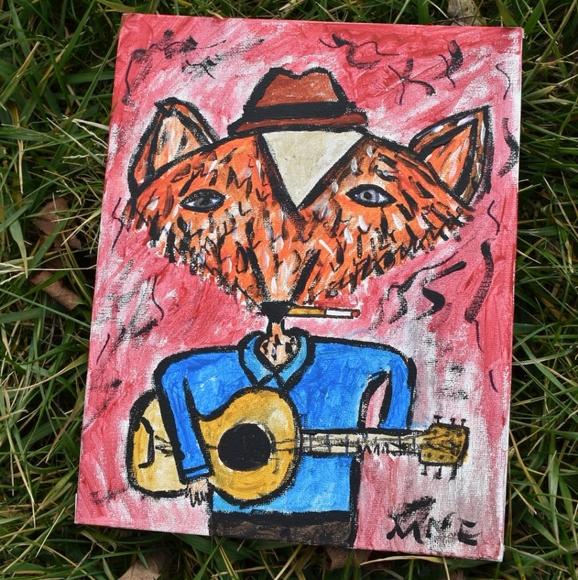 Original Folk Art Fox Playing Guitar